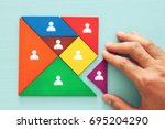 image of tangram  puzzle blocks ... | Shutterstock . vector #695204290
