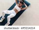 young beautiful girl wearing... | Shutterstock . vector #695214214