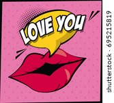 color background in pop art... | Shutterstock .eps vector #695215819
