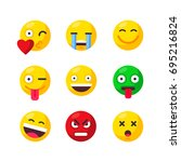 set of cute smiley emoticons.... | Shutterstock .eps vector #695216824