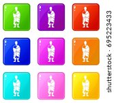 buddhist monk icons of 9 color... | Shutterstock . vector #695223433