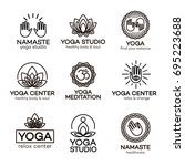 yoga logo template set for your ... | Shutterstock . vector #695223688
