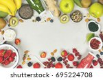 green and red fresh juices or... | Shutterstock . vector #695224708