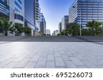 empty floor with modern... | Shutterstock . vector #695226073