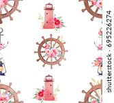 nautical seamless pattern with... | Shutterstock . vector #695226274