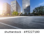 empty road with modern business ... | Shutterstock . vector #695227180