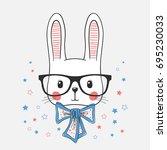 Stock vector funny bunny portrait 695230033