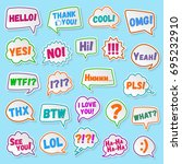 stickers of speech bubbles... | Shutterstock . vector #695232910