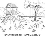 playground graphic black white... | Shutterstock .eps vector #695233879
