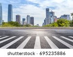 empty road with modern business ... | Shutterstock . vector #695235886