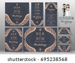 wedding invitation card... | Shutterstock .eps vector #695238568
