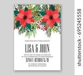 poinsettia wedding invitation... | Shutterstock .eps vector #695245558