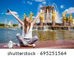young beautiful woman has a... | Shutterstock . vector #695251564
