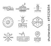 set of coffee shop logo on... | Shutterstock . vector #695252854
