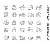 set of delivery icons black... | Shutterstock . vector #695253694