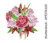 bouquet with watercolors...   Shutterstock . vector #695256163