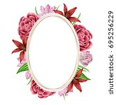 oval frame with watercolors...   Shutterstock . vector #695256229