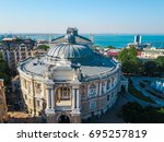 aerial view on odessa opera and ... | Shutterstock . vector #695257819