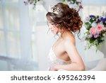 portrait of a beautiful girl in ...   Shutterstock . vector #695262394