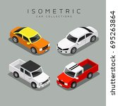 isometric colorful car... | Shutterstock .eps vector #695263864