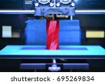 3d printer works and creates an ... | Shutterstock . vector #695269834
