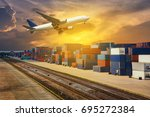 container truck  ship in port... | Shutterstock . vector #695272384