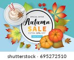 autumn banner design with fall  ... | Shutterstock .eps vector #695272510