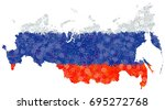 flag and map of russian... | Shutterstock .eps vector #695272768