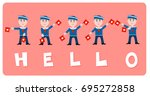 sailors waving hello with... | Shutterstock .eps vector #695272858