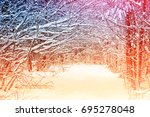 frozen winter forest with snow... | Shutterstock . vector #695278048