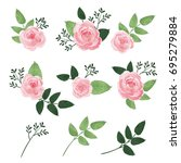 vector set of isolated rose... | Shutterstock .eps vector #695279884