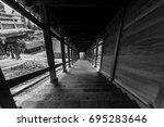 dark temple staircase | Shutterstock . vector #695283646