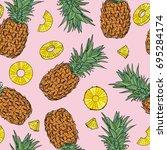 pineapple seamless pattern....   Shutterstock .eps vector #695284174