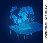 digital modern globe  wireframe ...   Shutterstock .eps vector #695288164