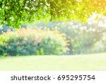 blurred park with bokeh light ... | Shutterstock . vector #695295754