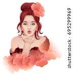 beautiful young woman doing an... | Shutterstock .eps vector #695299969