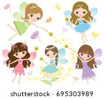 vector set of little fairies in ... | Shutterstock .eps vector #695303989
