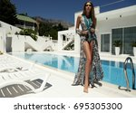 fashion outdoor photo of... | Shutterstock . vector #695305300