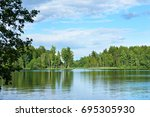 landscape from the shore of a... | Shutterstock . vector #695305930