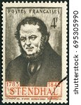 Small photo of MOSCOW, RUSSIA - MARCH 13, 2016: A stamp printed in France shows Marie-Henri Beyle Stendhal (1783 - 1842), French writer, 1942