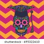 skull vector with graduate hat  ...   Shutterstock .eps vector #695322610