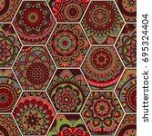 luxury oriental tile seamless... | Shutterstock .eps vector #695324404