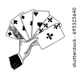 a male hand with the playing... | Shutterstock . vector #695325640