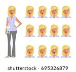 set of woman expression.... | Shutterstock . vector #695326879