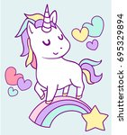 white vector unicorn patch with ... | Shutterstock .eps vector #695329894