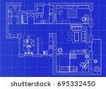 white floor plan sketch of a... | Shutterstock .eps vector #695332450