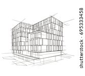 modern architecture drawing.... | Shutterstock .eps vector #695333458
