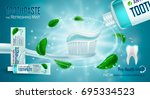 refreshing mint  toothpaste ads ... | Shutterstock .eps vector #695334523