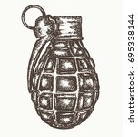 grenade. single unexploded... | Shutterstock .eps vector #695338144