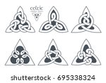 vector celtic trinity knot part ... | Shutterstock .eps vector #695338324